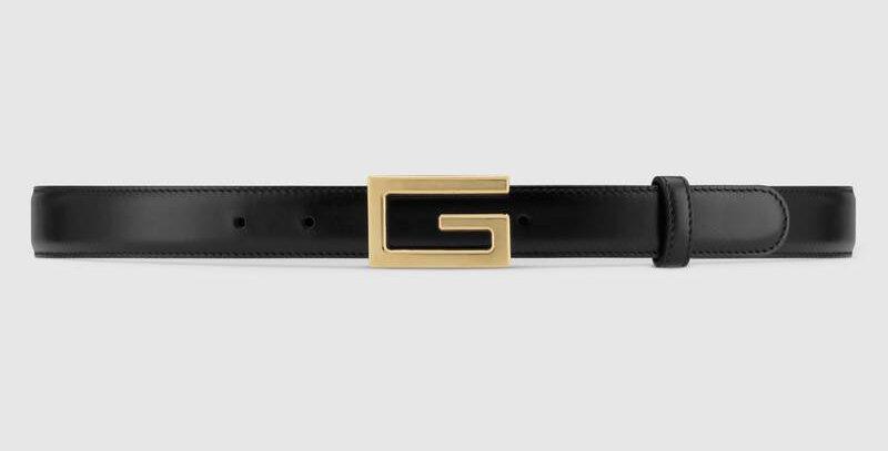 Black G leather belt