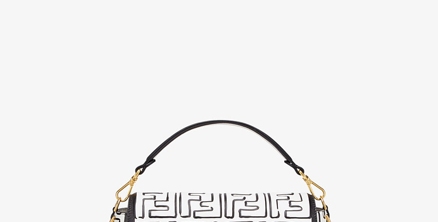 White BF leather print bag
