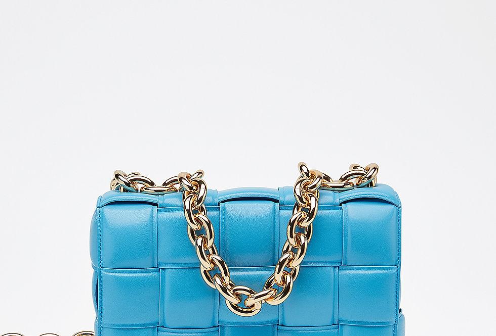 Blue chain cross-body bag