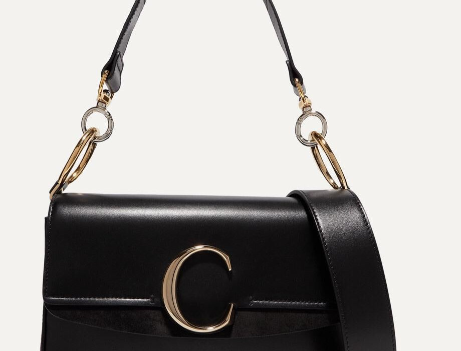 CC small suede-trimmed leather shoulder bag