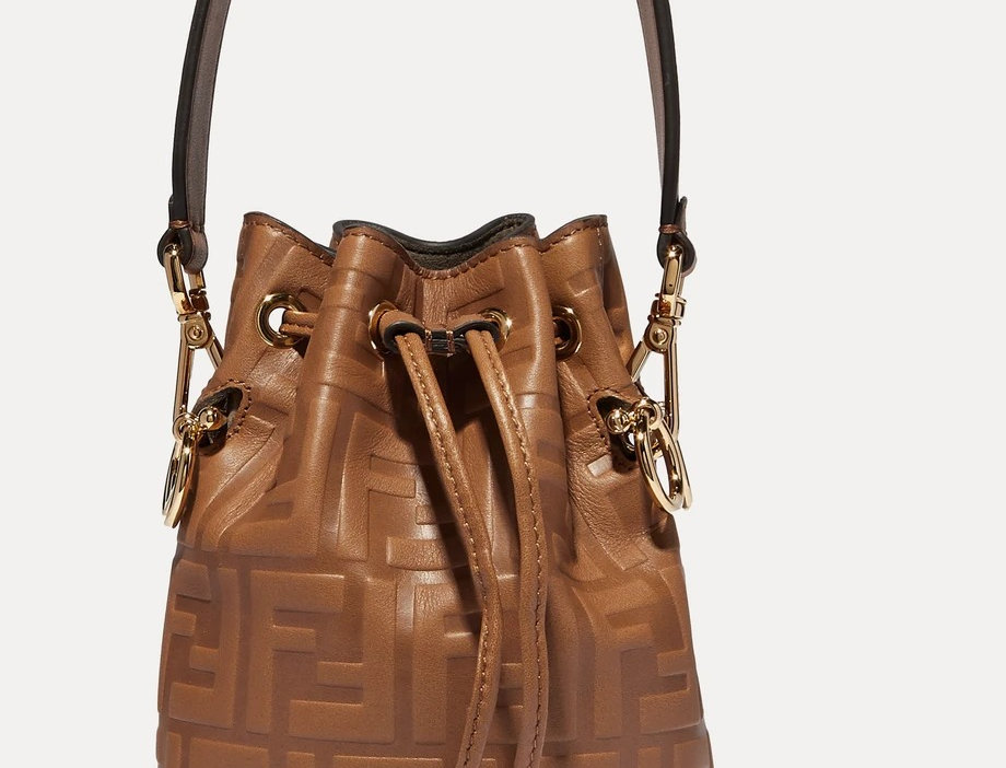 Brown MT mini embossed leather bucket bag