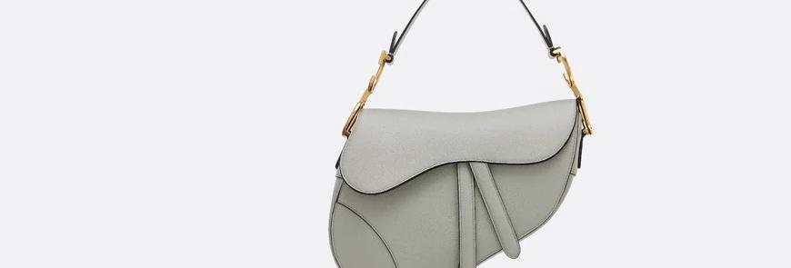 Gray stone DS grain calfskin bag