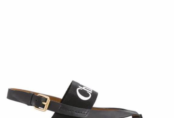 Black CW logo strap sandals