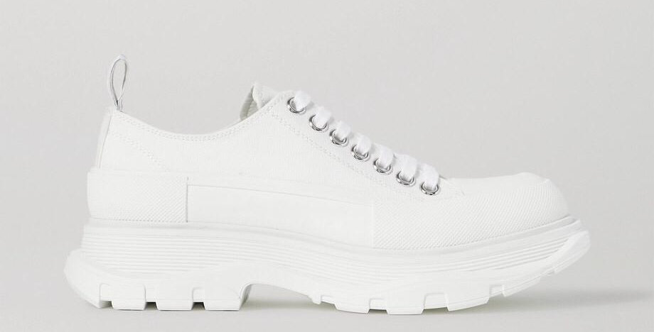 White canvas exaggerated-sole sneakers