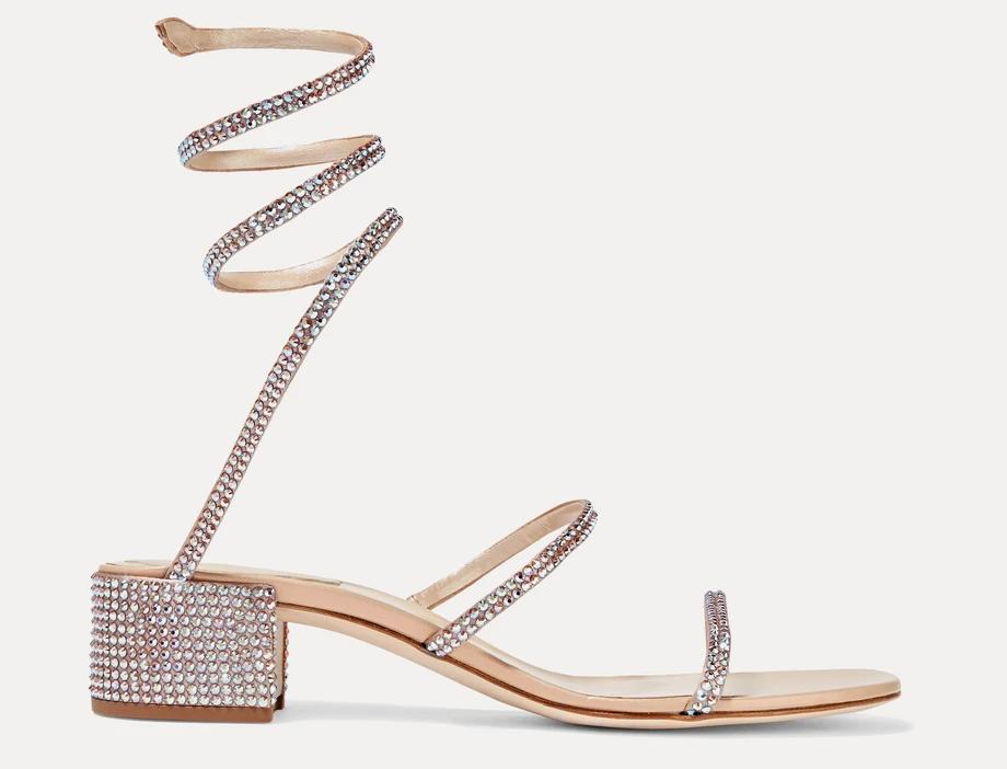 Beige RC crystal-embellished satin sandals