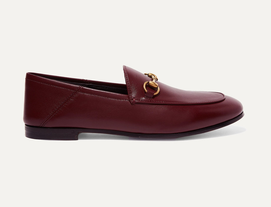 deep burgundy leather collapsible-heel loafers