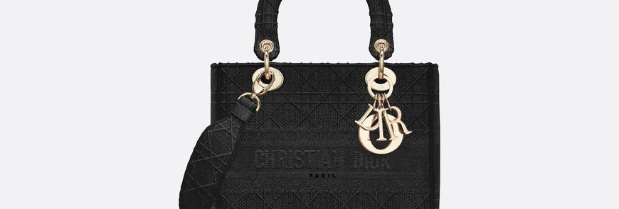 Medium black LD embroidered cannage bag