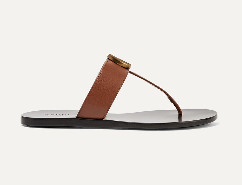 Brown GM leather sandals
