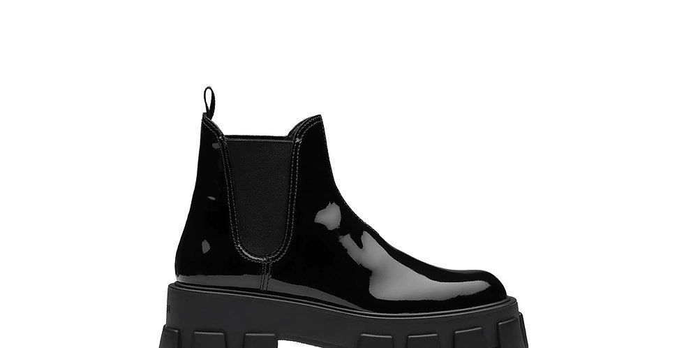 PM patent leather booties