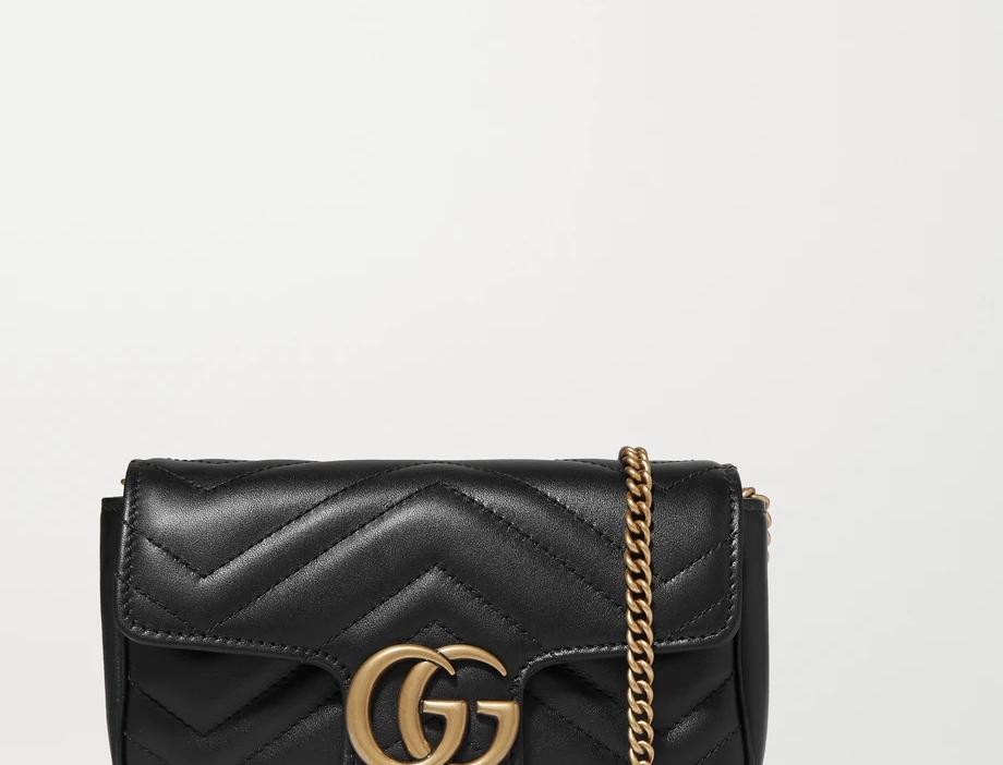 Black GM super mini quilted leather shoulder bag