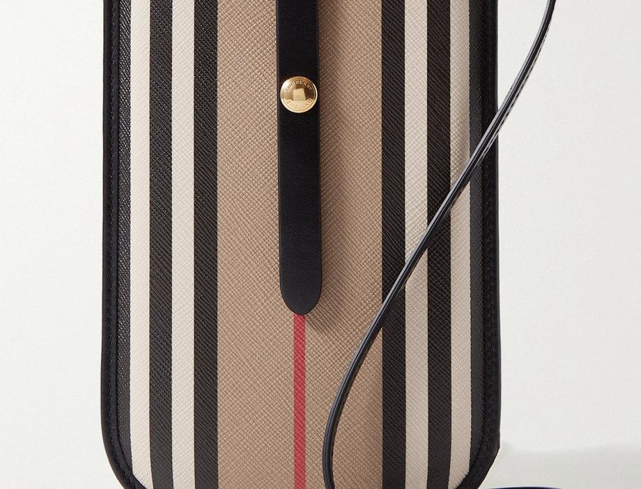 Striped leather-trimmed coated-canvas shoulder bag