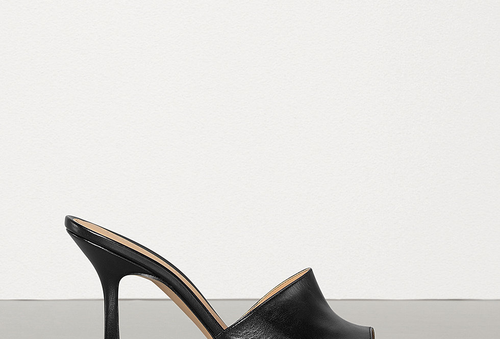 Black BVS leather mules