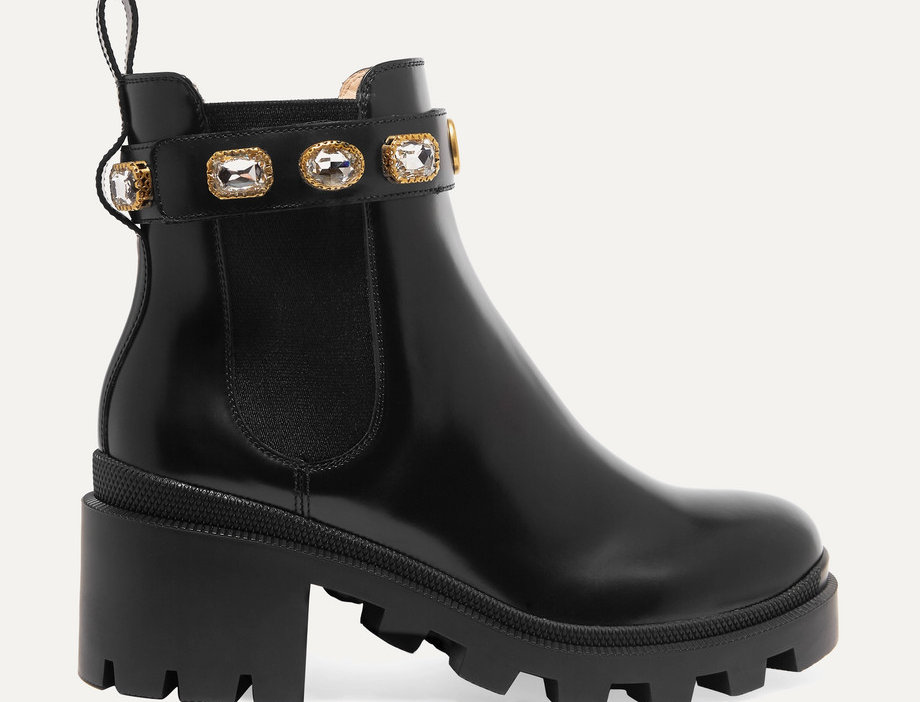 GC Crystal-embellished leather boots
