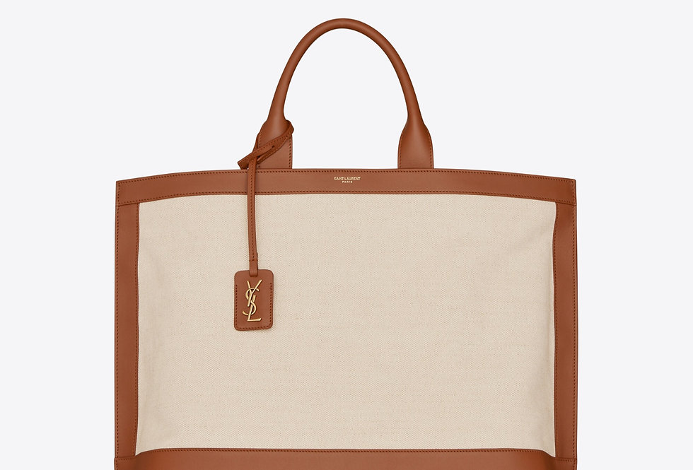 Brick and greige shopping tag in canvas and leather