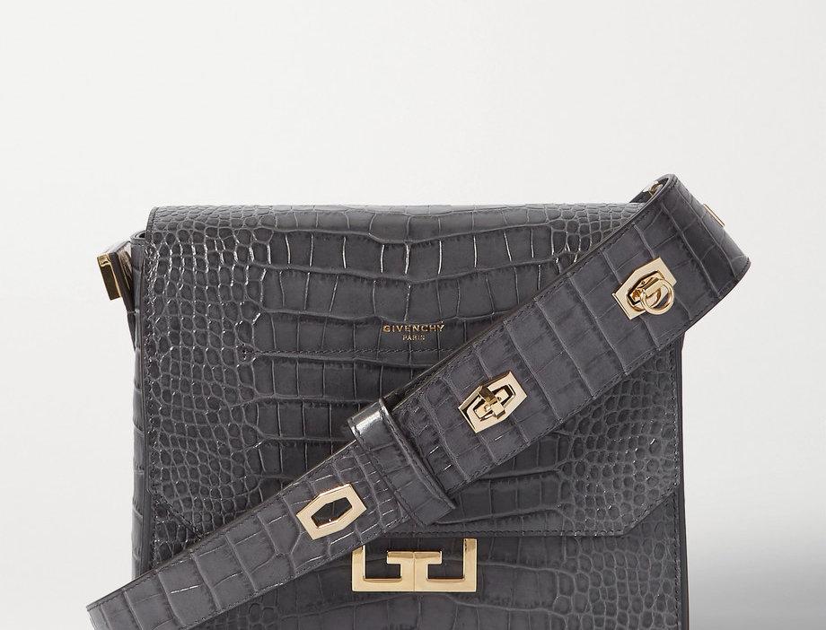 GE Medium Croc-Effect Leather Shoulder Bag