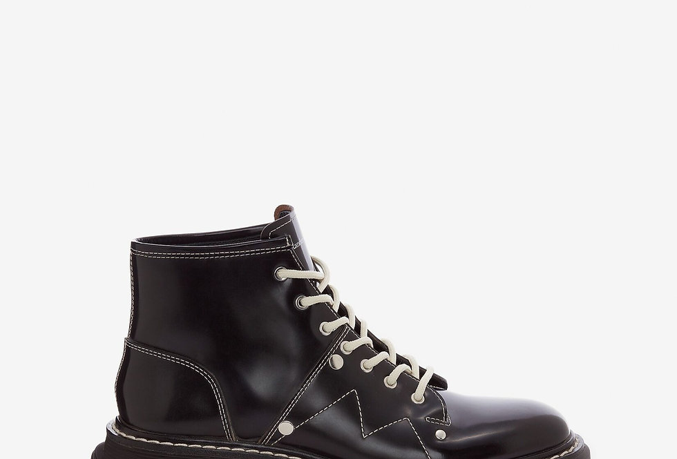 Black MT lace up ankel boot with white stitches