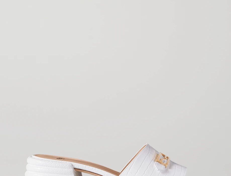 White FP croc-effect leather mules