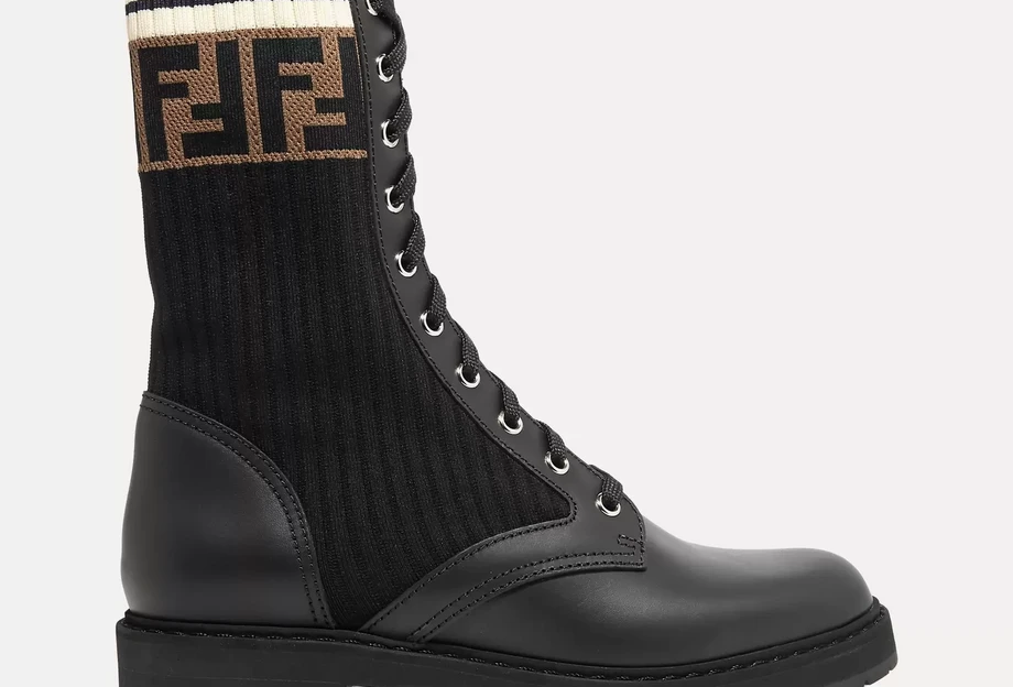 Black Logo-jacquard stretch-knit and leather ankle boots