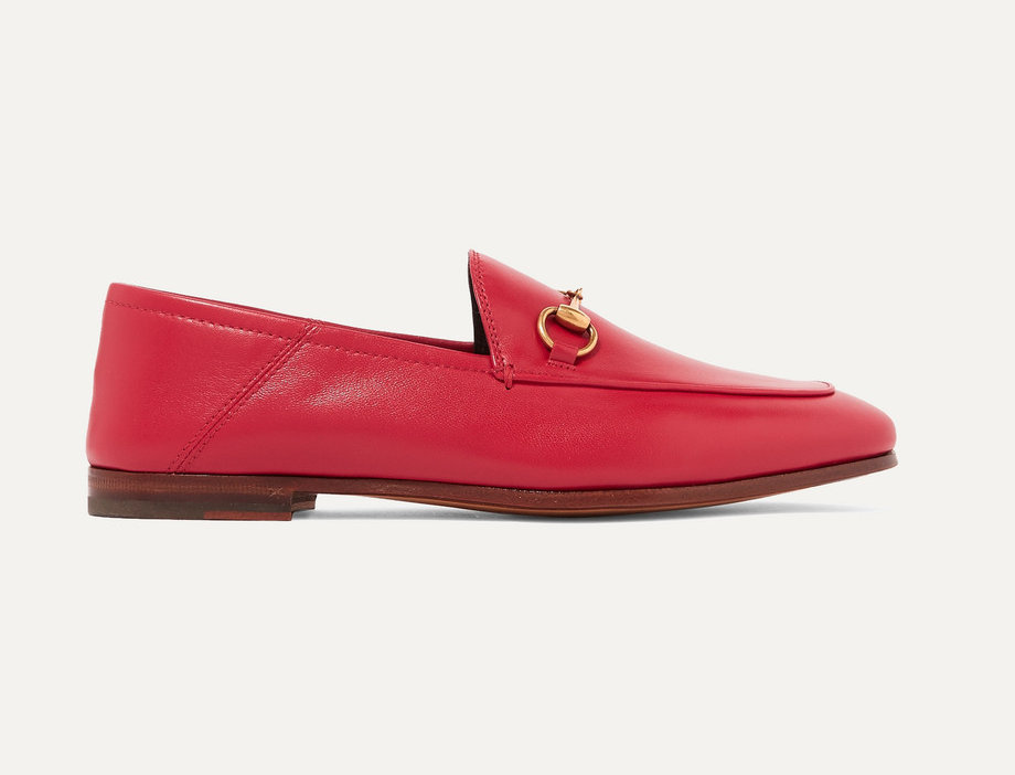 Red leather collapsible-heel loafers