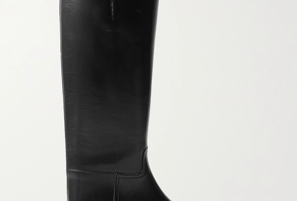 AN buckled leather knee boots