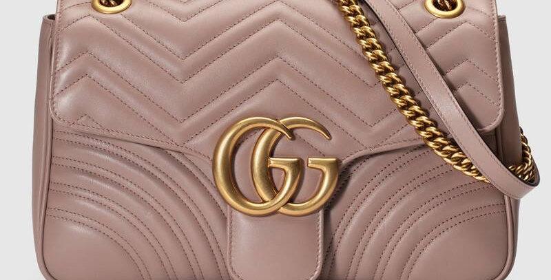 Dusty pink GM medium shoulder bag