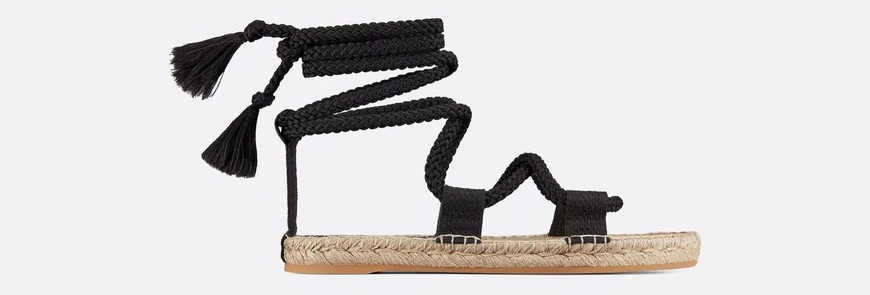 Black D express embroidered and woven cotton sandal