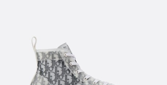 White and black D high-top sneaker