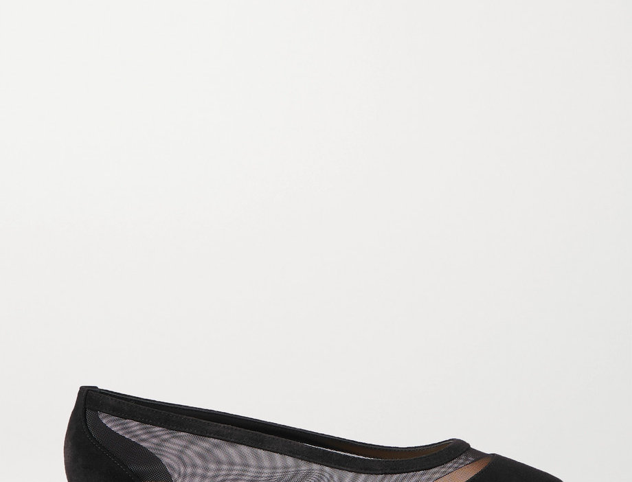 CLG suede and mesh point-toe flats