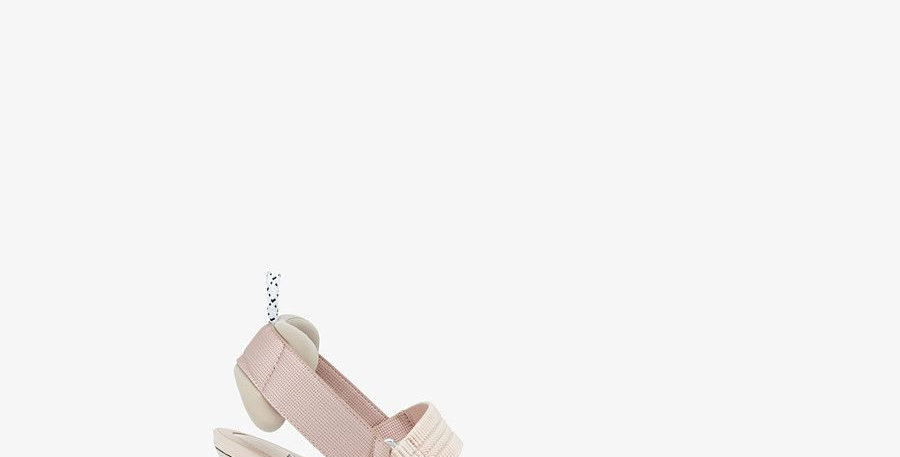 Pink F mesh and nude leather pump