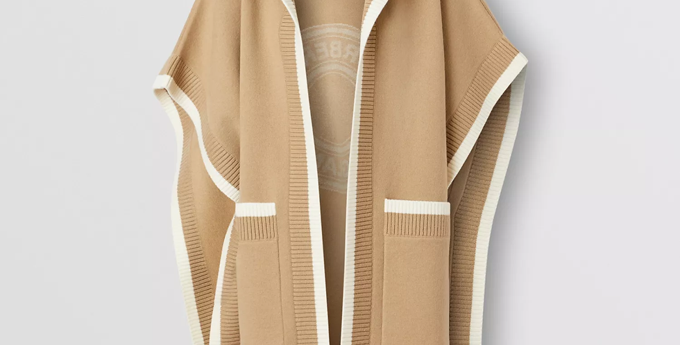 Archive beige Wool Jacquard Hooded Cape
