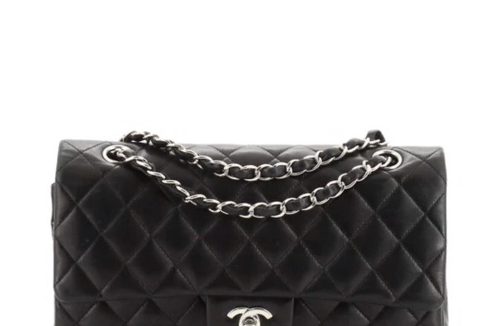 Black classic C handbag with silver-tone metal