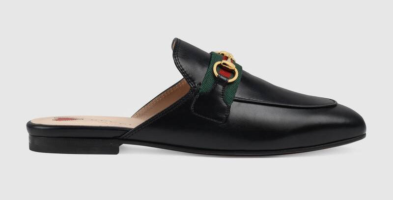 Black leather with tonal piping GP slipper