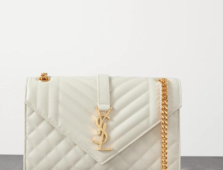 Cream envelope medium quilted textured-leather
