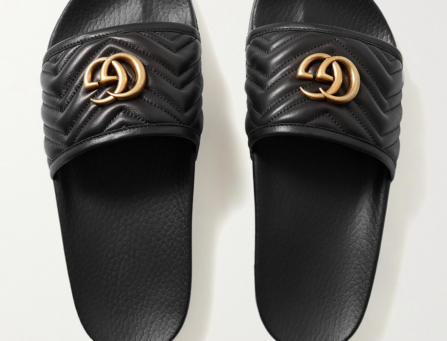 GP quilted leather slides