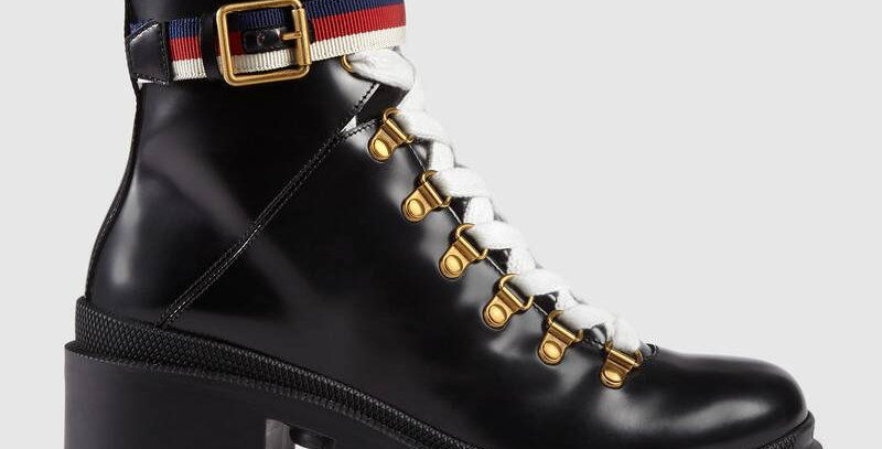 Black leather ankle boot with ankle strap