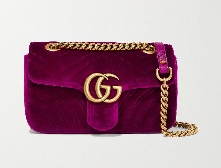 GM mini quilted velvet shoulder bag