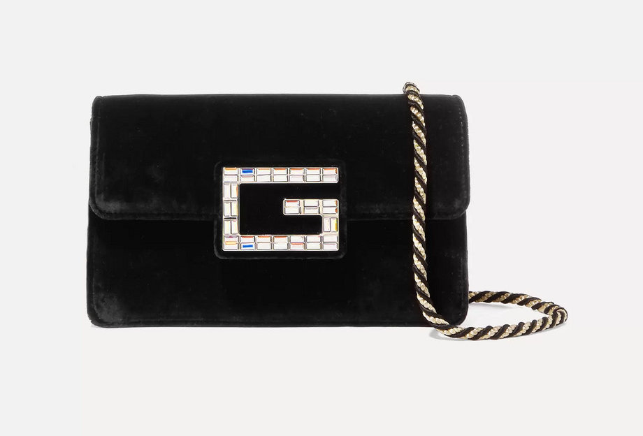 GB crystal-embellished velvet shoulder bag