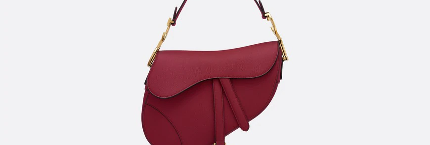 Cherry red DS stamped grain calfskin bag
