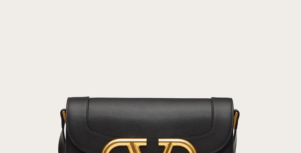 Black VS leather crossbody bag