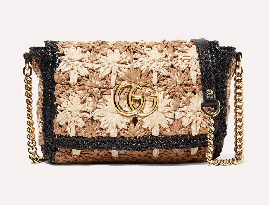 GM raffia shoulder bag