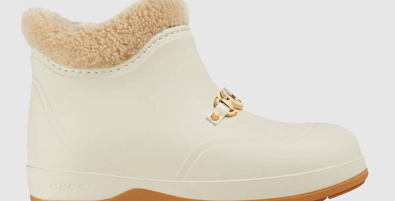 White rubber ankle boot