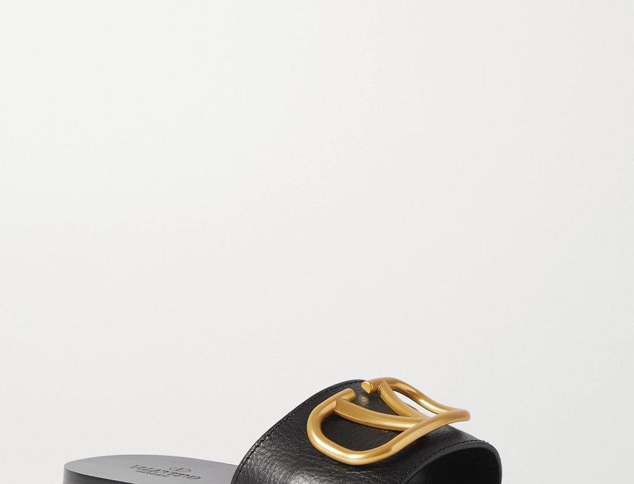 GL embellished leather slides