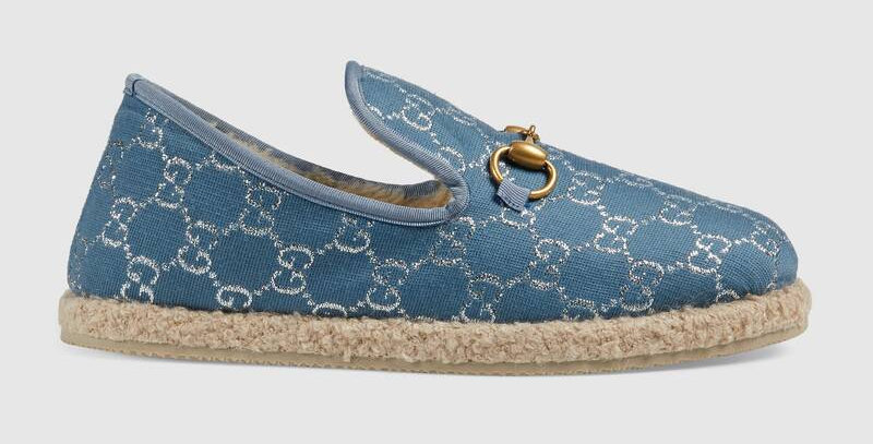 Blue and silver loafer
