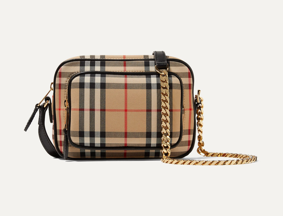 Leather-trimmed checked cotton-canvas shoulder bag