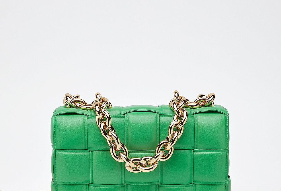 Green chain cross-body bag