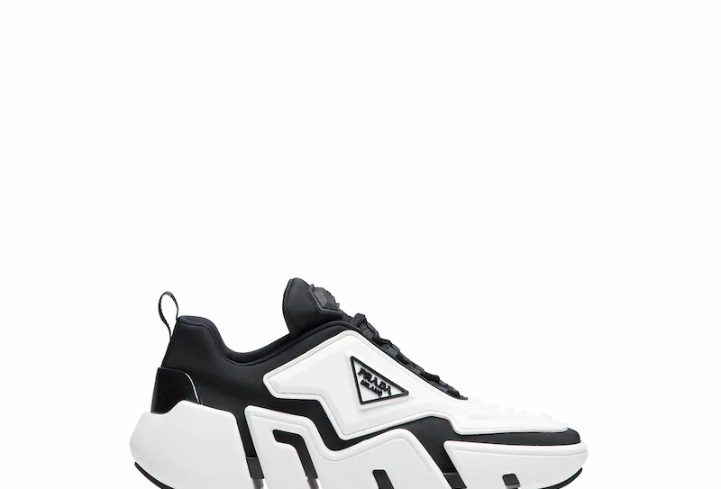 Black and white technical fabric sneakers