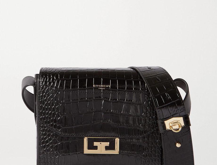 GE Small Croc-Effect Leather Shoulder Bag