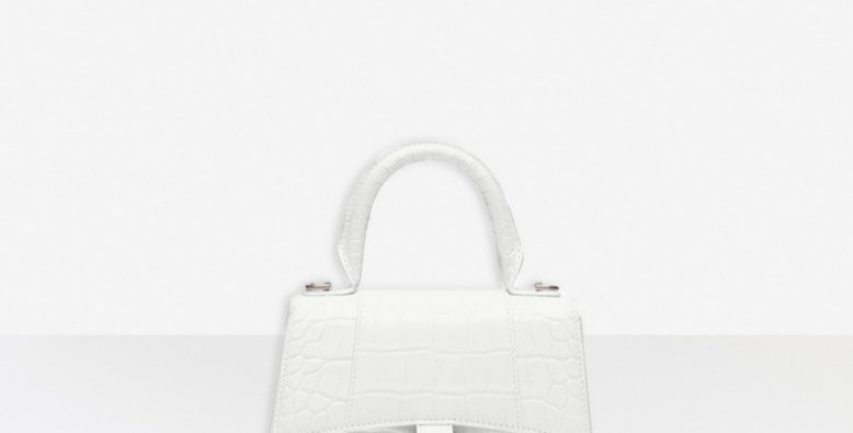 White shiny crocodile BH xs top handle bag