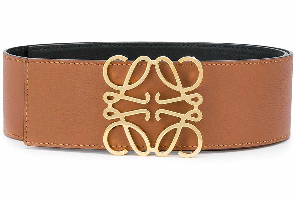 Brown L buckle leather belt