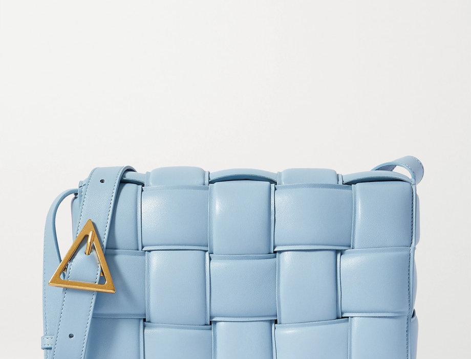BC padded intrecciato glossed-leather shoulder bag